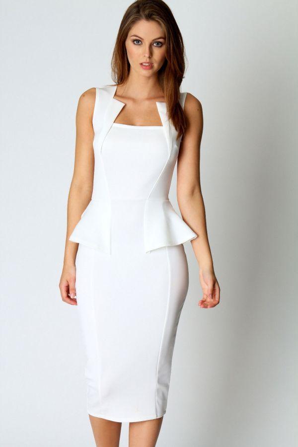 767b805f2b0e bílé pouzdrové společenské šaty Linda. Šaty skladem » šaty krátké