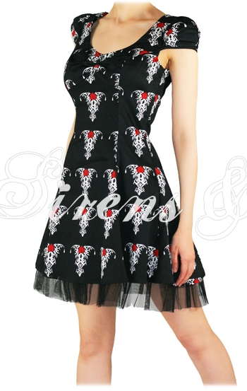 BLACK TRIBAL ROSE GOTHIC EMO šaty - vampire 601e5402ec
