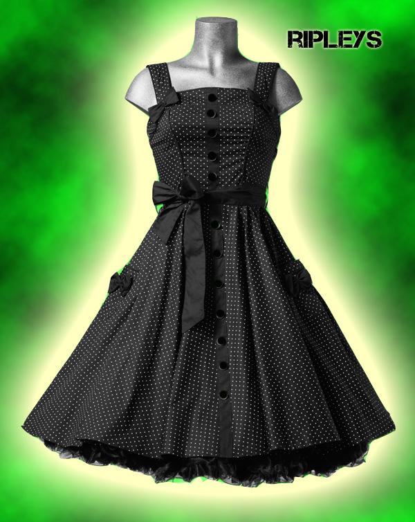 HELL BUNNY Prom Swing DRESS Gery POLKA DOT Black XS-XXL šaty. Riplays -  Hell Bunny » Hell bunny · Šaty cc84c9cad12