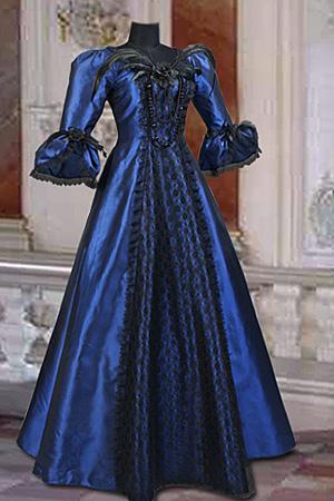 modré šaty - vampire, gothic, emo, lolita, burlesque, retro, pin-up ...