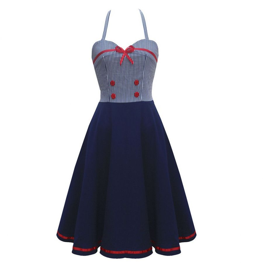 3f73a2eaeafb námořnické retro krátké šaty rockabilly modré vintage - vampire ...